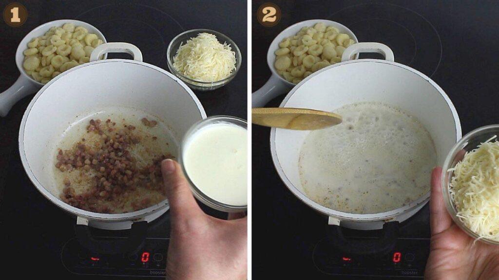 Keto Gnocchi Orecchiette Bacon Alfredo Sauce adding cream and cheese