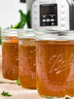 Bone Broth made in an Instant pot stored in Mason Jars