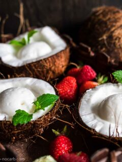 Sugar-Free Coconut Ice Cream in a Coconut shells with strawberries