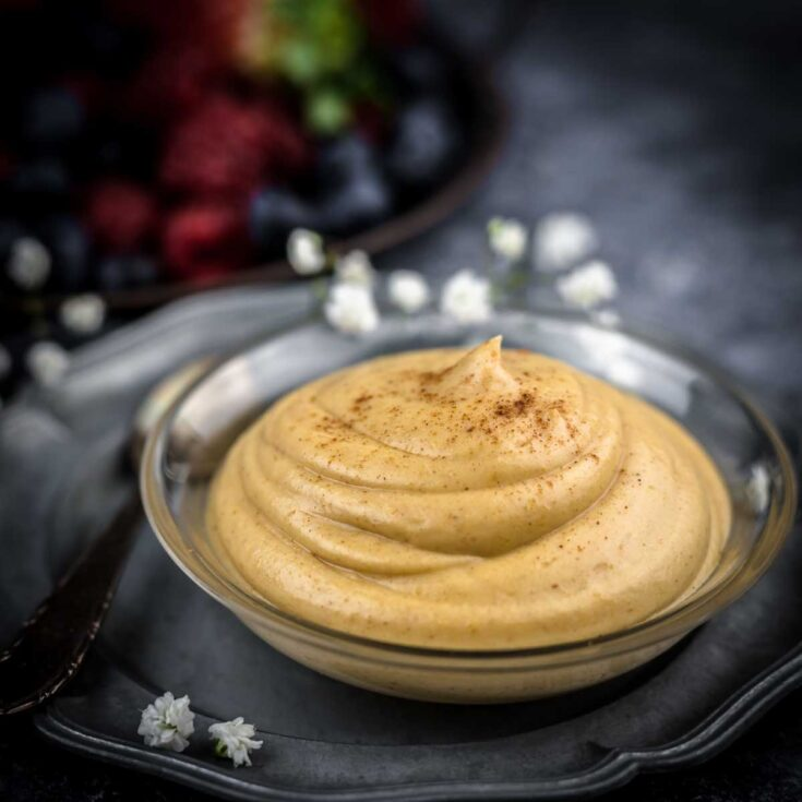 No Bake Keto Peanut Butter Mousse on a silver plate