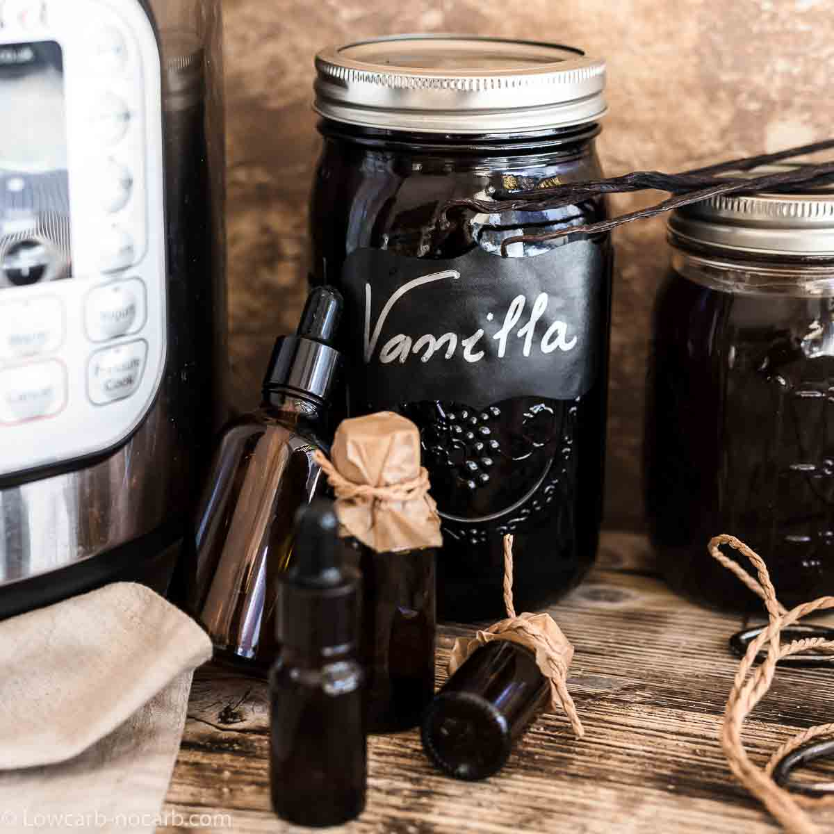 Vanilla Extract in a mason jar with Instant pot