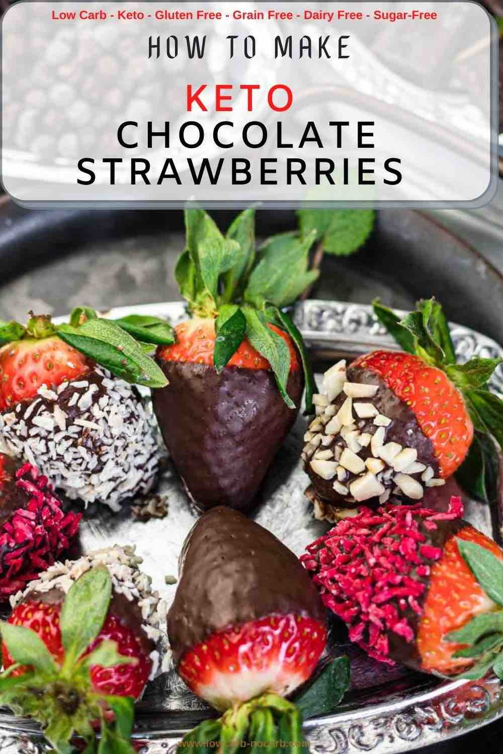 Healthy Chocolate Covered Strawberries with various toppings