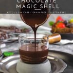Keto Magic Shell chocolate sauce pouring into the jar ready for dipping