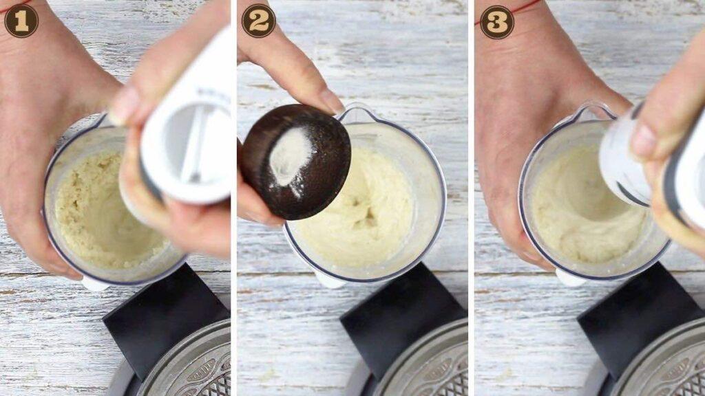 Homemade Keto Ice Cream Cone whisking the batter