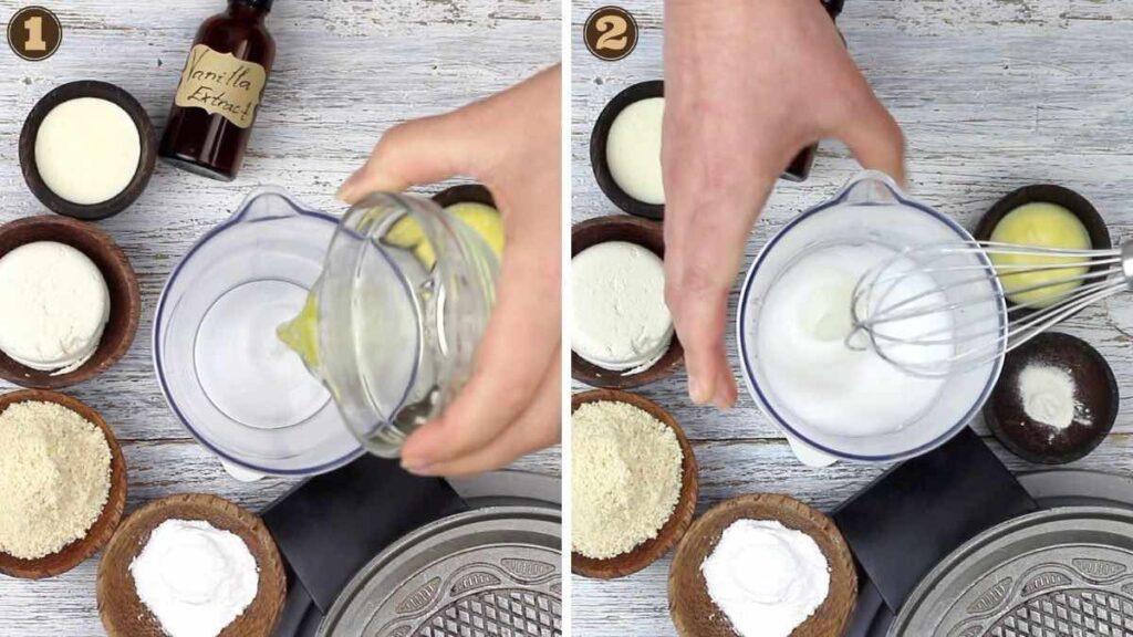 Homemade Sugarless Ice Cream Cones whisking egg white