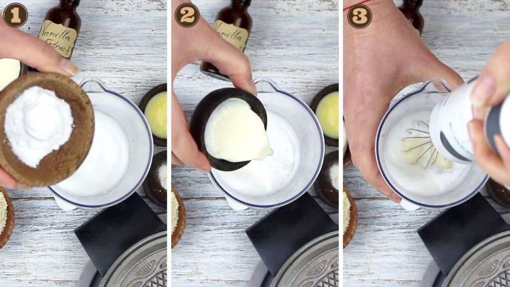 DIY Sugar-Free Cones whisking sugar and heavy cream