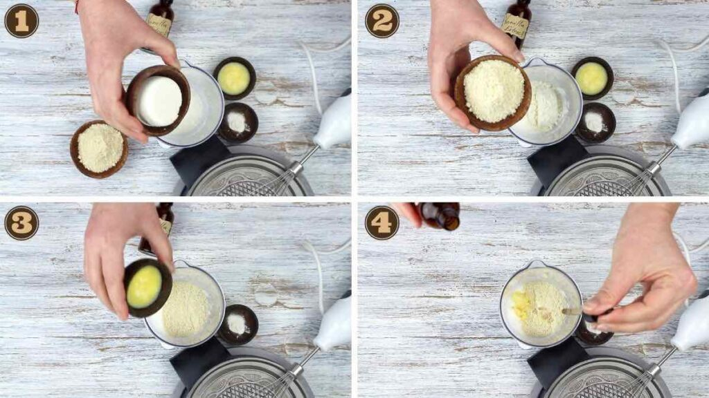 Low Carb Ice Cream Sugar Cones mixing all ingredients together