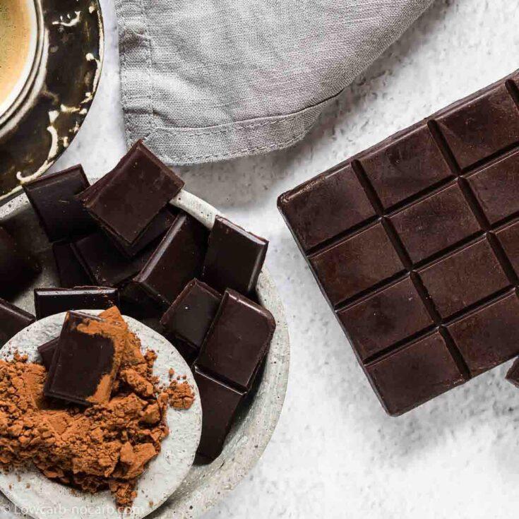 Sugar-Free Homemade Chocolate Bars on a grey background