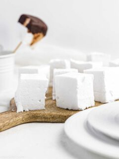 Sugar-Free Marshmallows on a wooden board
