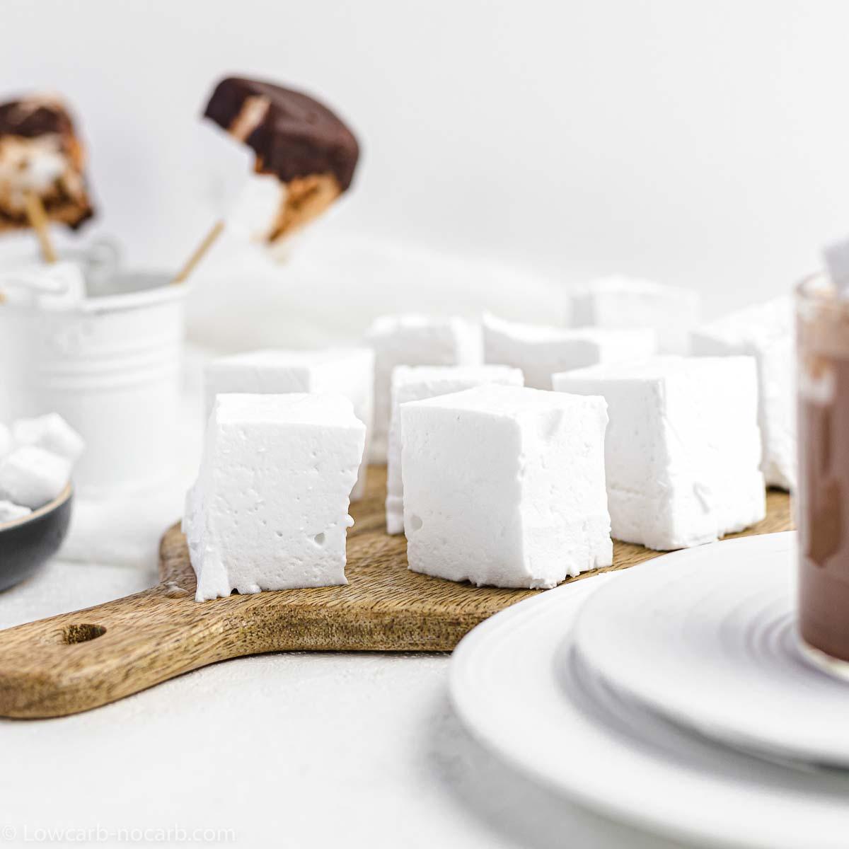 Sugar-Free Marshmallows on a wooden board