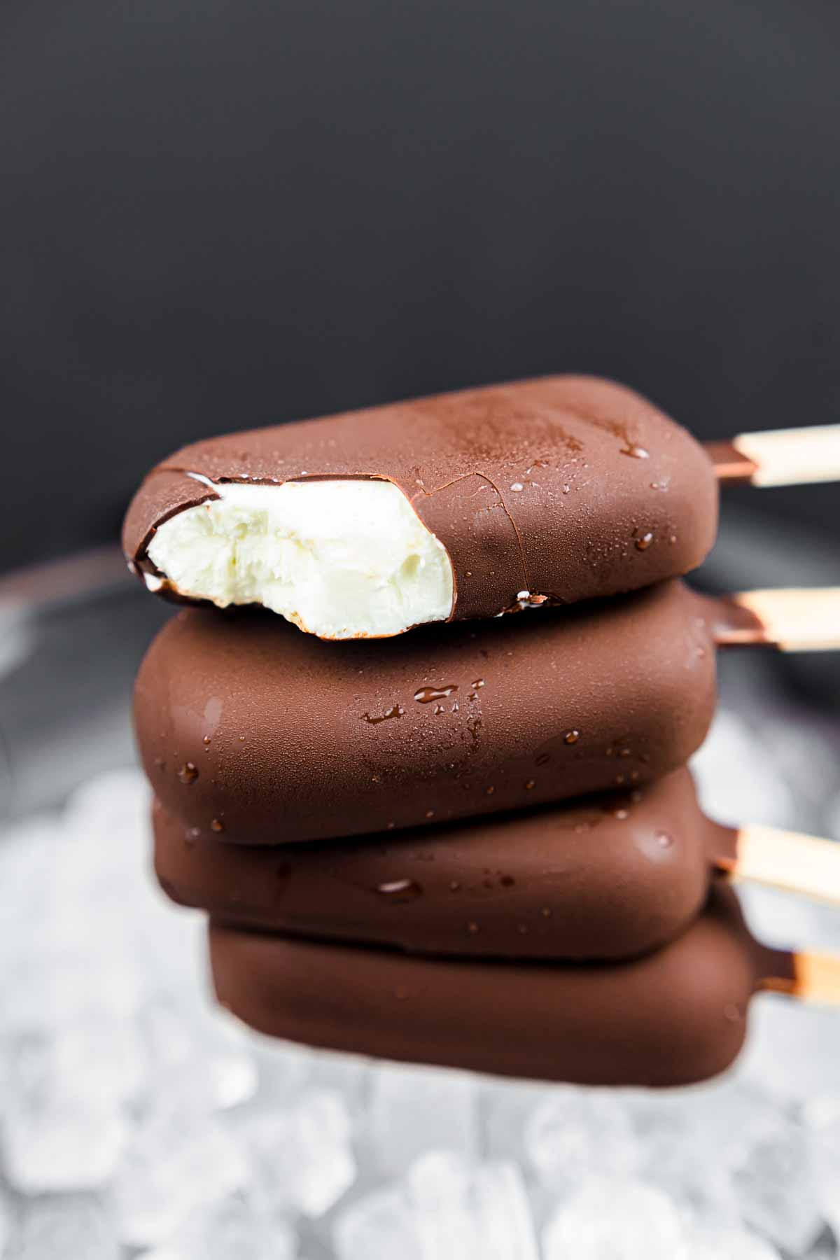 Sugar-Free Chocolate Magic Shell Syrup covered with Skyr Yoghurt Ice Bars