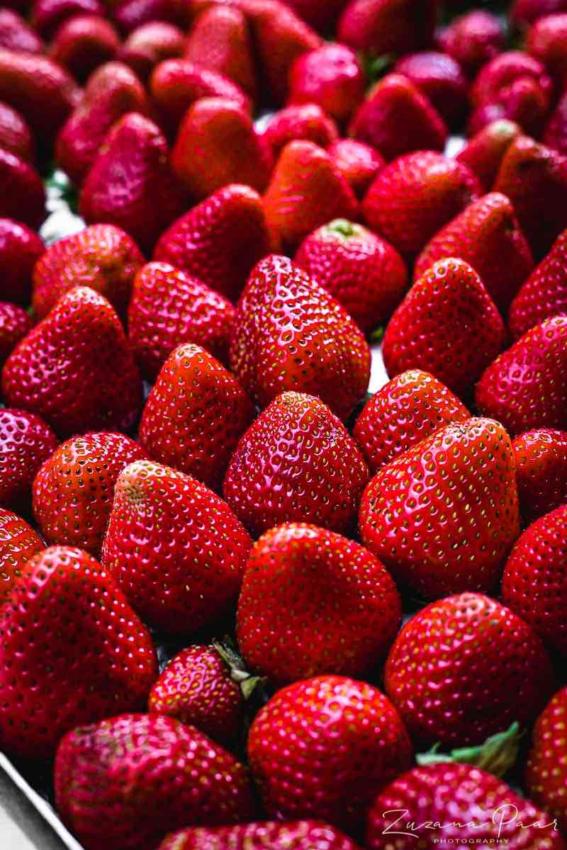 Organic Strawberries in a palette