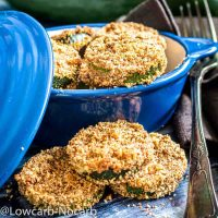Keto Breadcrumbs baked Zucchini in a blue bowl