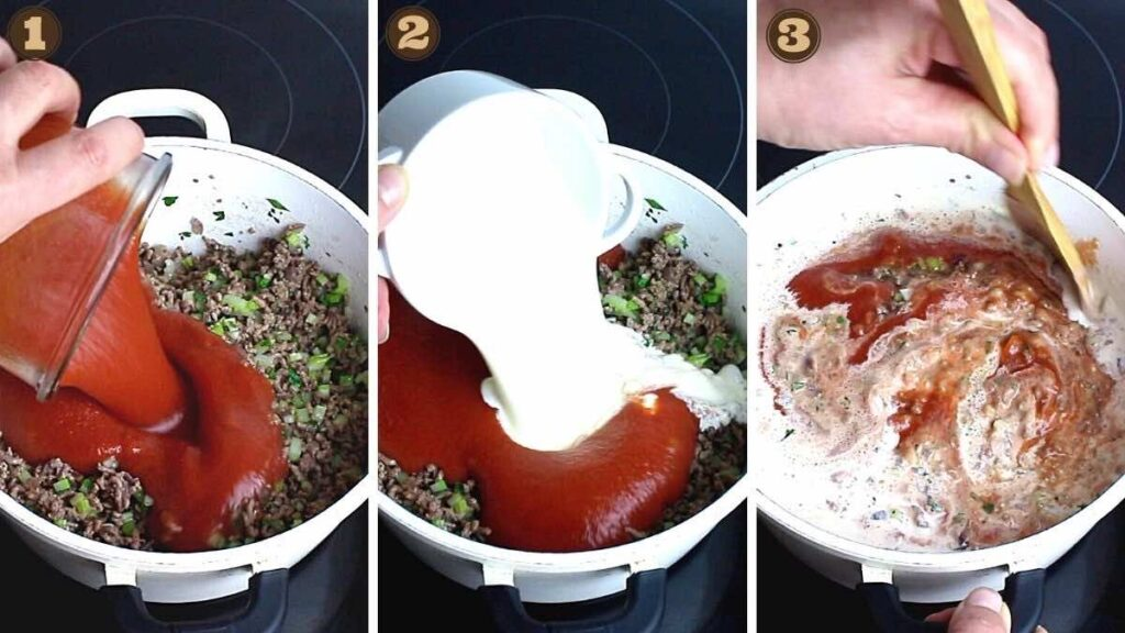 Keto Bolognese adding tomato sauce and heavy cream