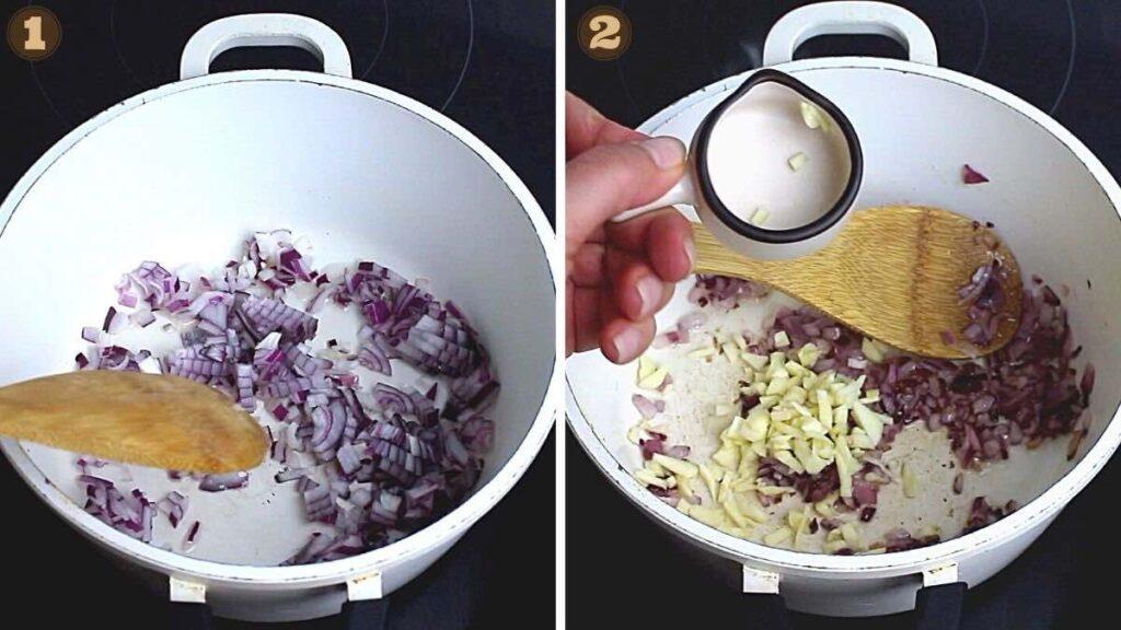Keto Ragu Meat Sauce caramelising onion and garlic