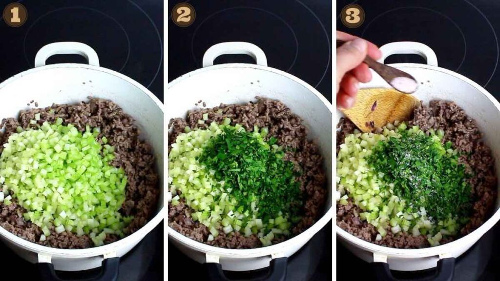 Keto Meat Sauce adding herbs and celery
