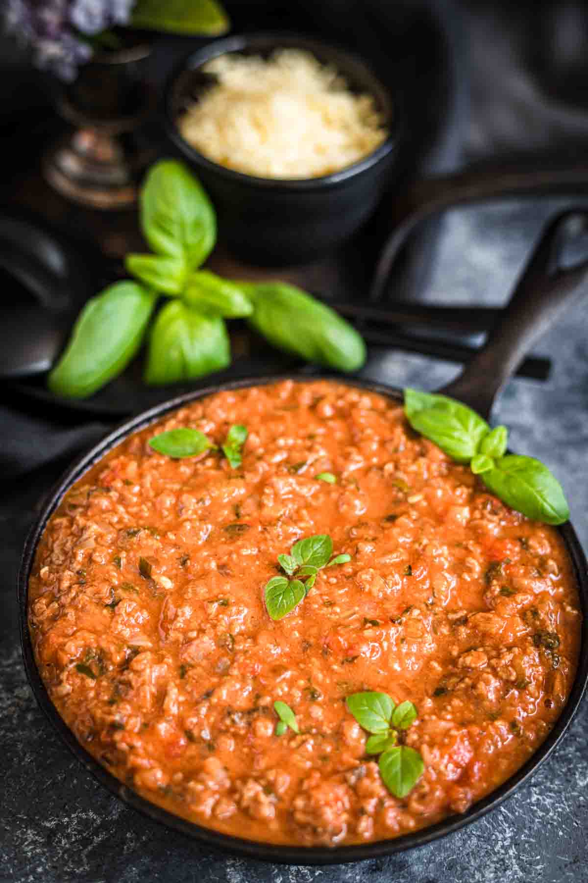 Keto Bolognese Sauce in a black baking dish