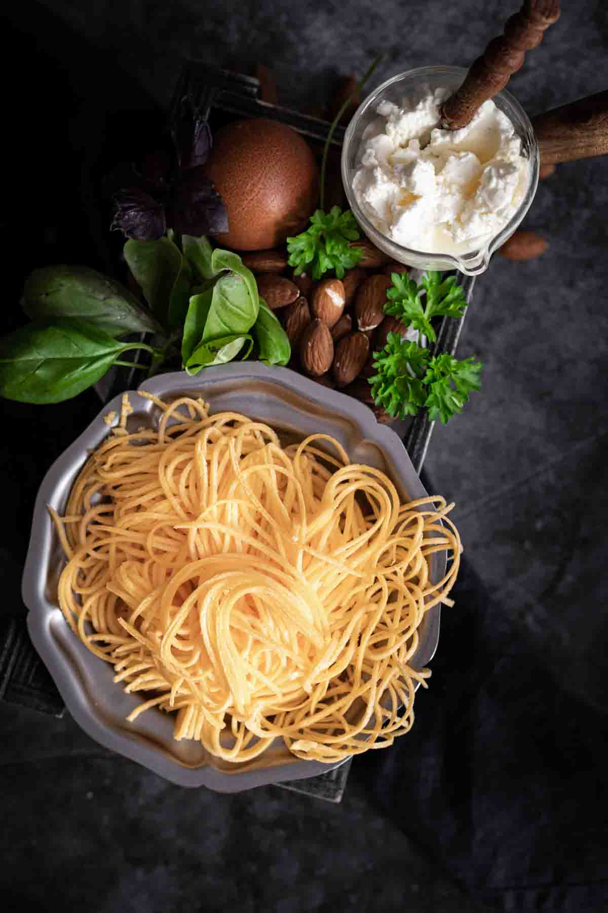 Low Carb Spaghetti Noodles with a box filled with ingredients