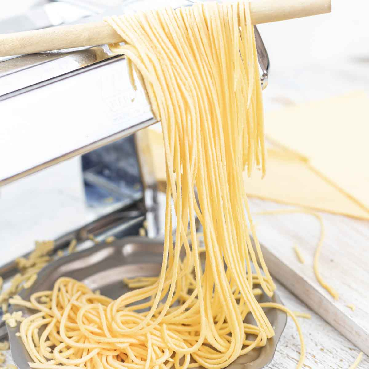 Low Carb Spaghetti Noodles made with pasta machine