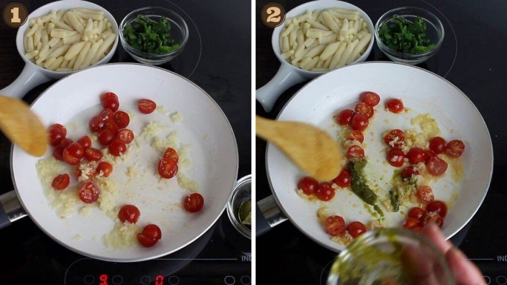 Coconut Flour Gnocchi with tomato and basil adding basil pesto into the pot