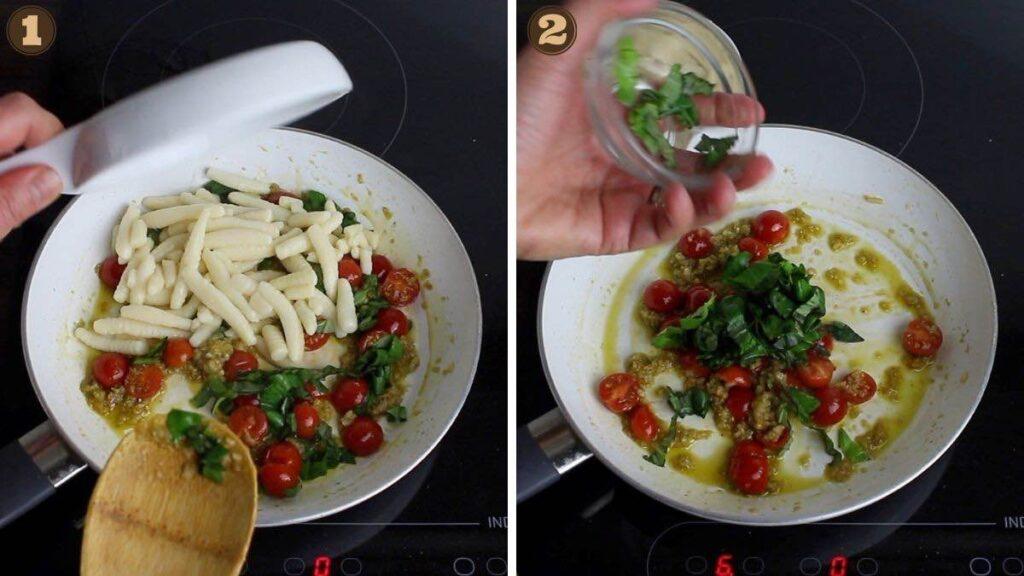 Gluten-Free Gnocchi adding gnocchi and basil into the cooking pot