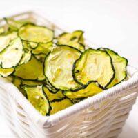 Crispy Zucchini Chips in a white Basket