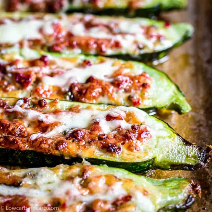Zucchini Boats filled with Bacon and Cheese