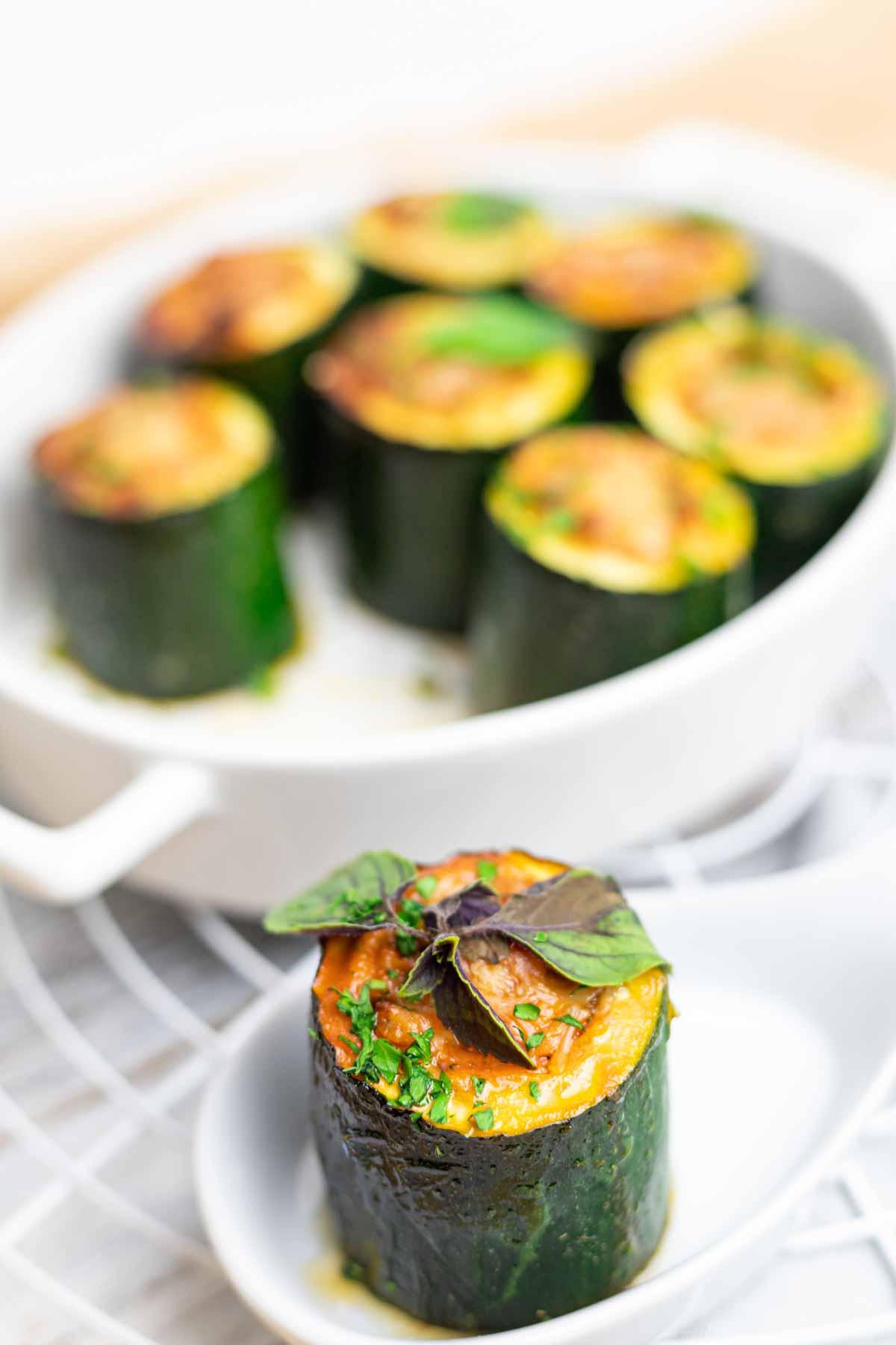 Keto Zucchini Appetizer as a single serve