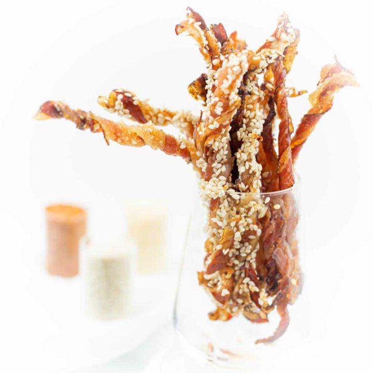 Keto Crispy Twisted Bacon 5 ways in a glass jar