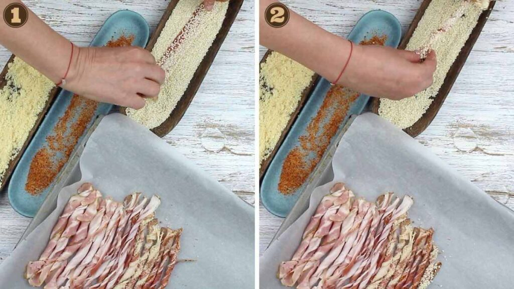 Twisted Bacon dipping bacon onto sesame seeds