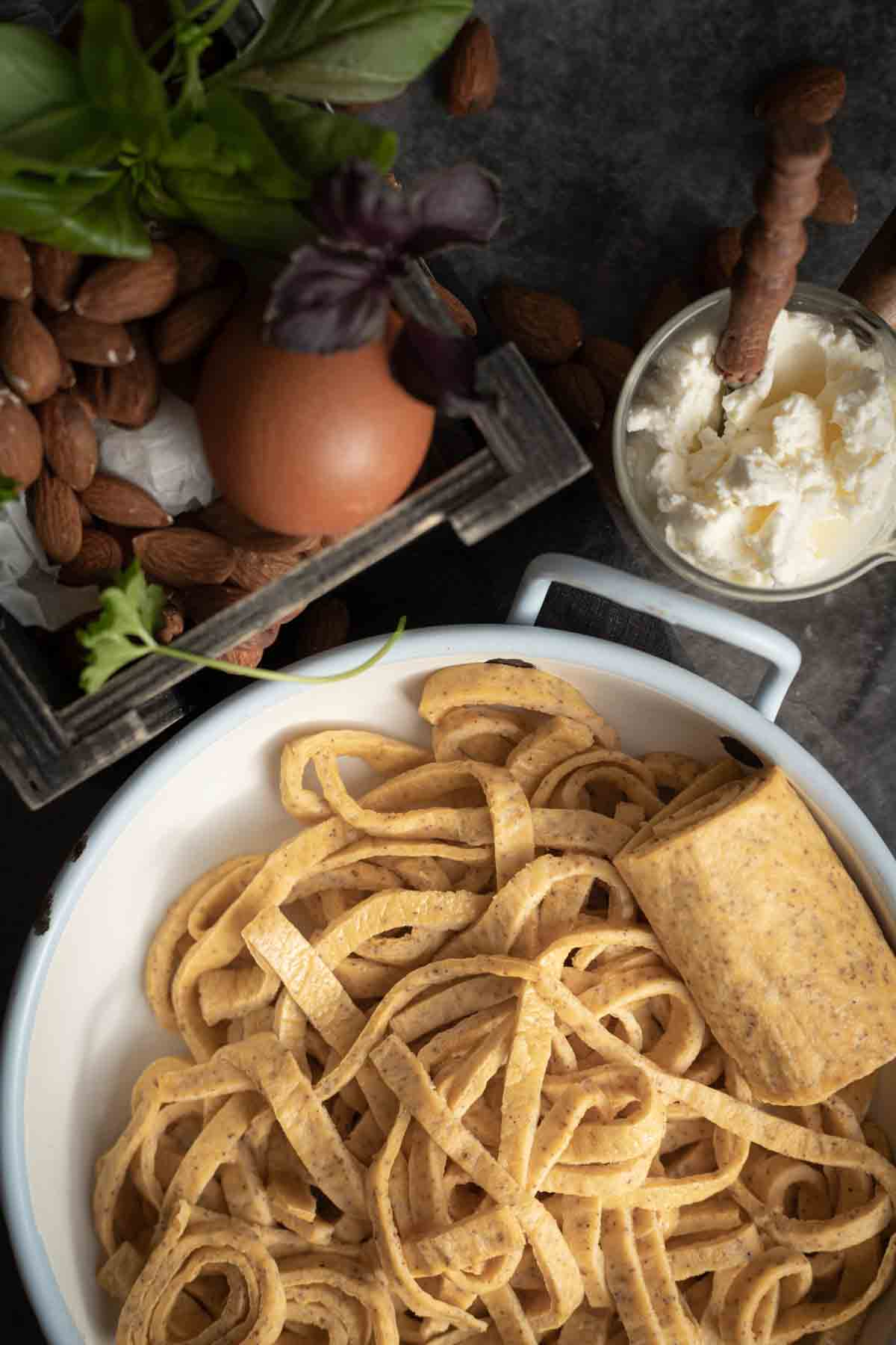 Psyllium Low Carb Pasta with cream cheese in a bowl
