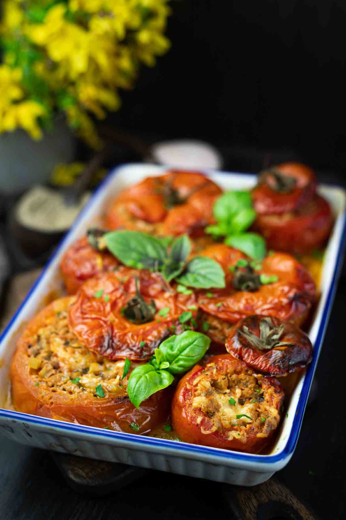 Keto Stuffed Tomatoes Bolognese served in a dish