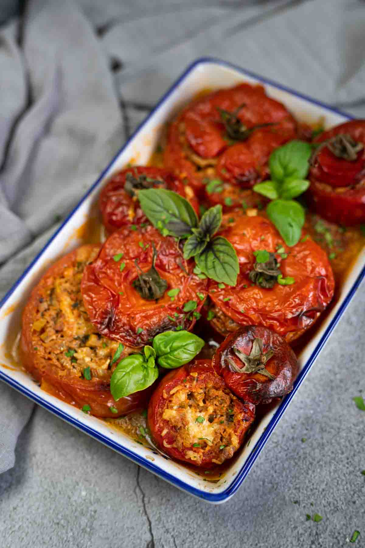Mince Stuffed Tomatoes in the casserole dish