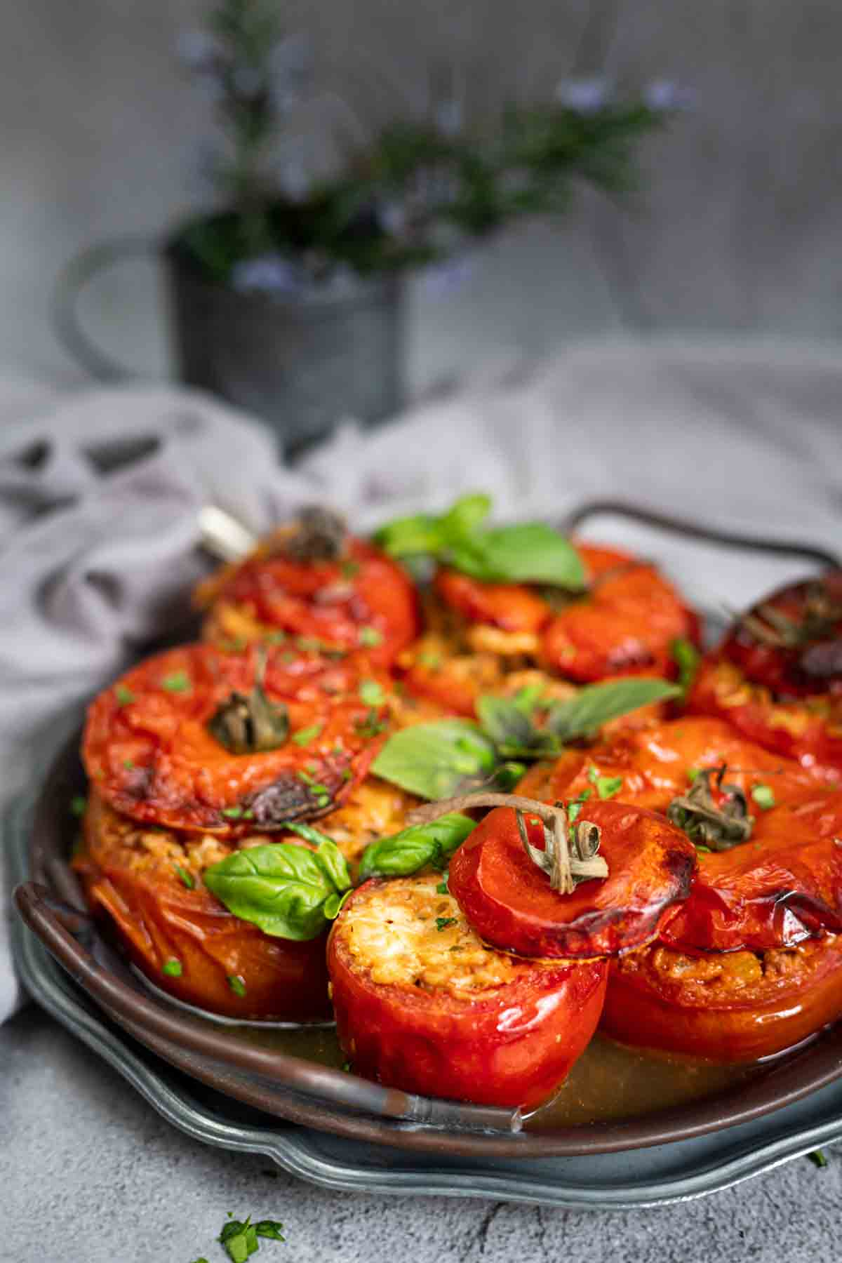 Ground Beef Stuffed Tomatoes Recipe in an antique tray