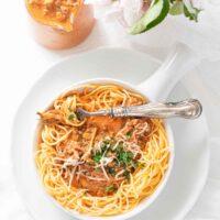 Keto Spaghetti Sauce served on a white plate
