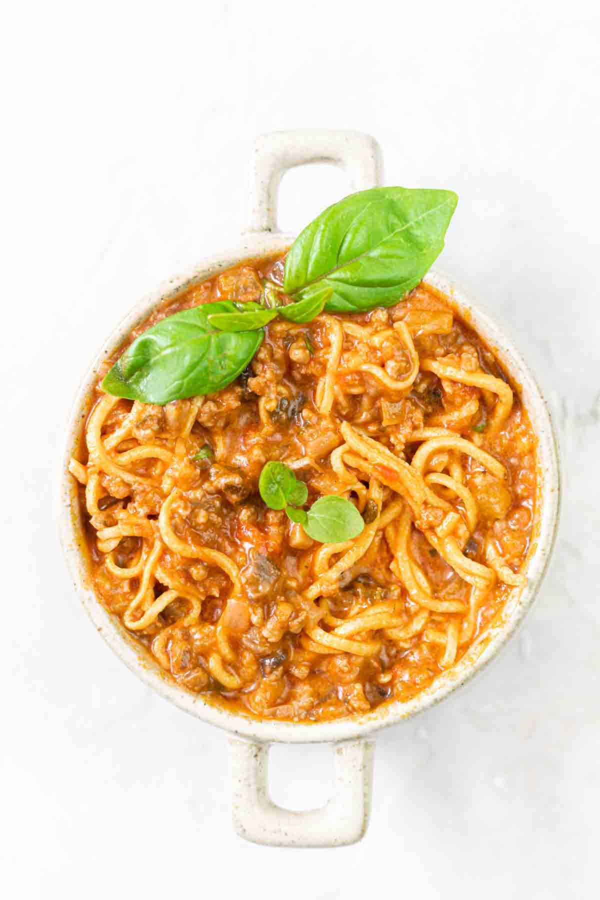 Keto Spaghetti Sauce in a bowl