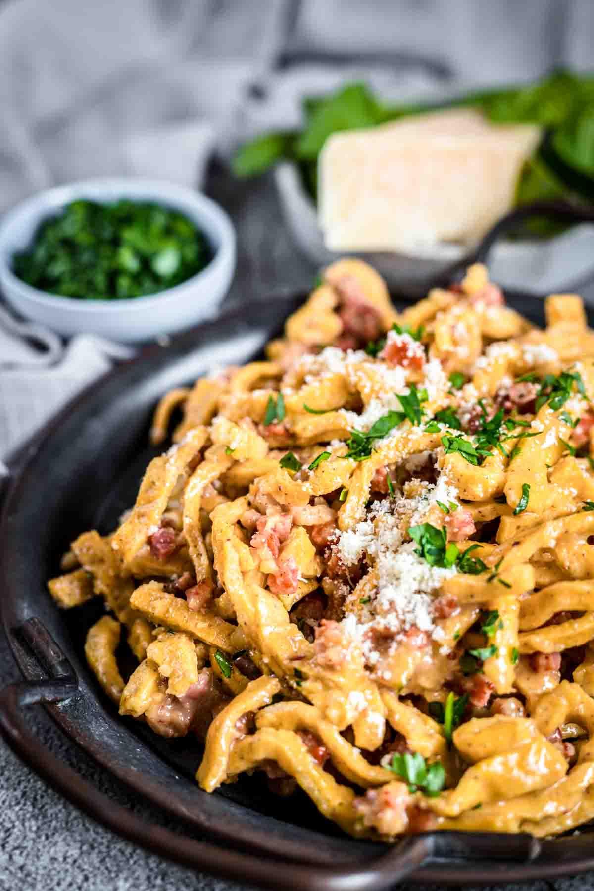 Keto Pasta Carbonara Recipe served on a dark plate