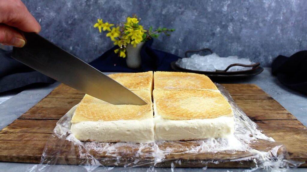 Keto Wafer Sandwich cutting to serve