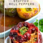 Keto Bolognese Stuffed Peppers baked in a small dish