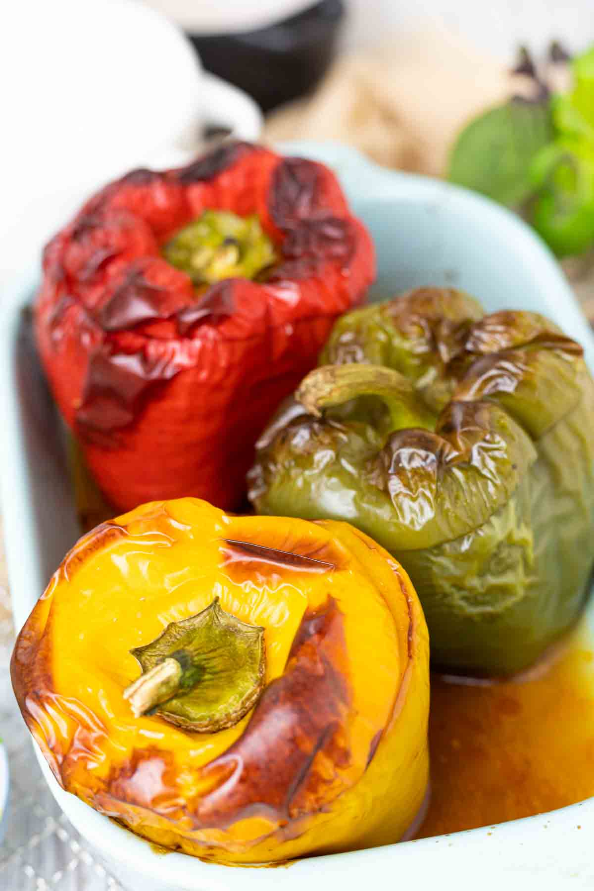 Low Carb Stuffed peppers in a baking dish