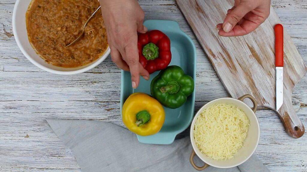 Easy Keto-Friendly Stuffed peppers preparing for baking