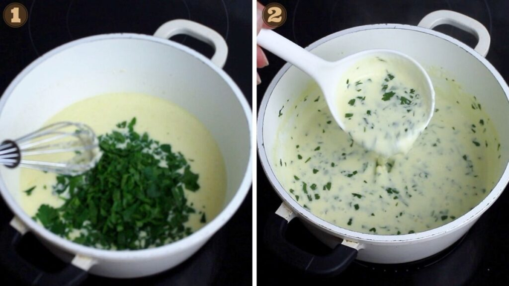 Easy Keto Fettuccine Alfredo adding herbs