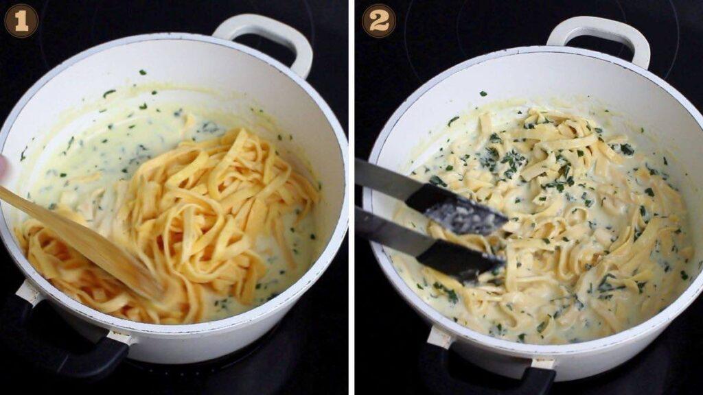 Easy Keto Fettuccine Alfredo with adding Homemade Noodles