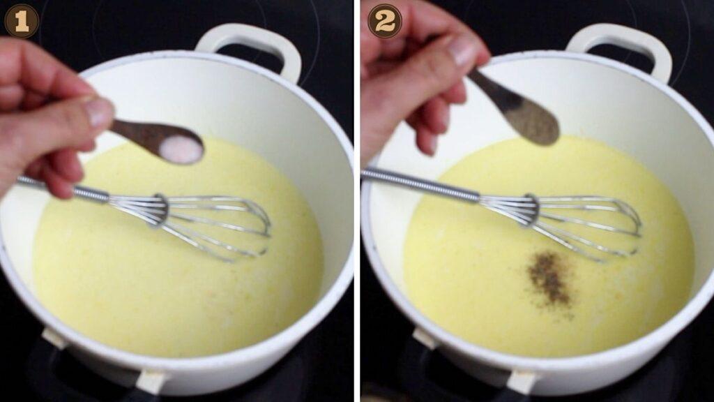 Parmesan Cream Sauce adding salt and pepper