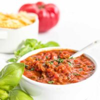 Quick and Easy Homemade Keto Marinara Sauce served with keto pasta in the background