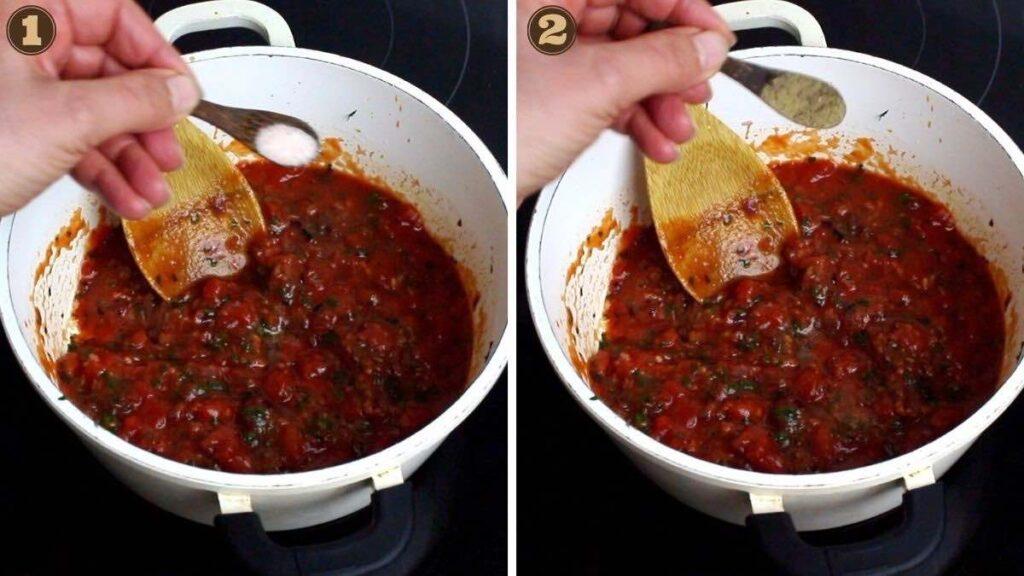Keto Tomato Sauce adding salt and pepper