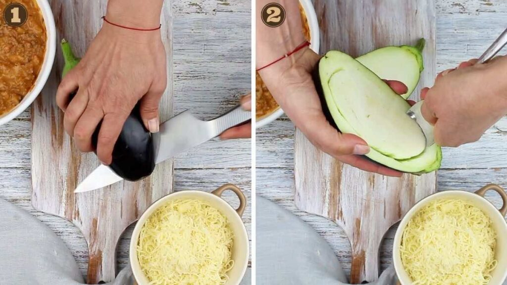 Filled Aubergine Recipe cutting and cleaning the middle