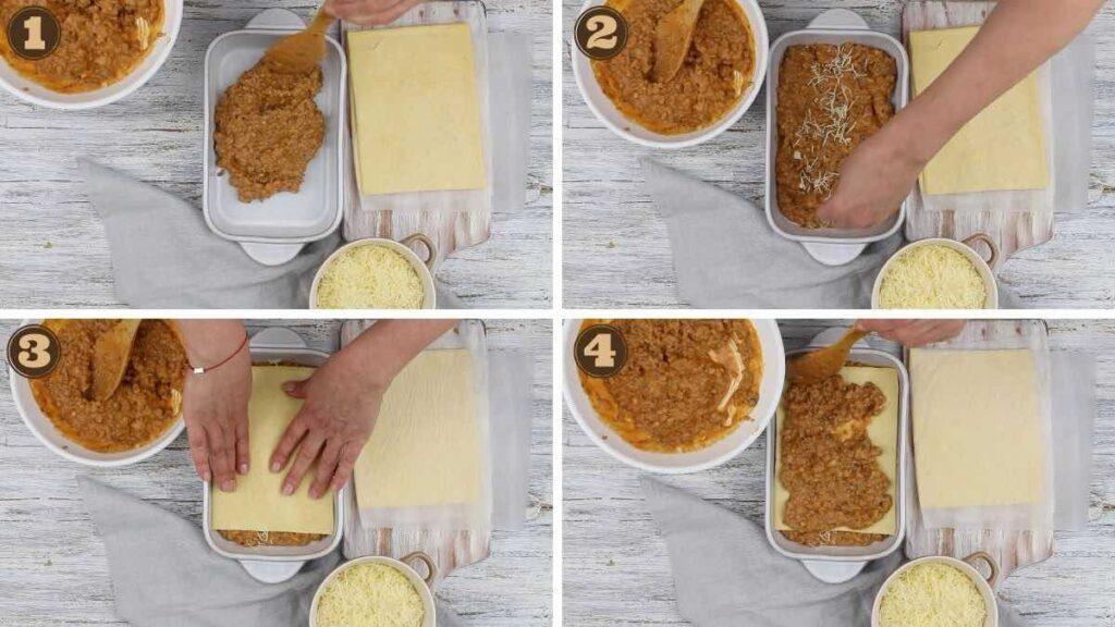 Low Carb Ground Beef recipes layering onto keto lasagna sheets