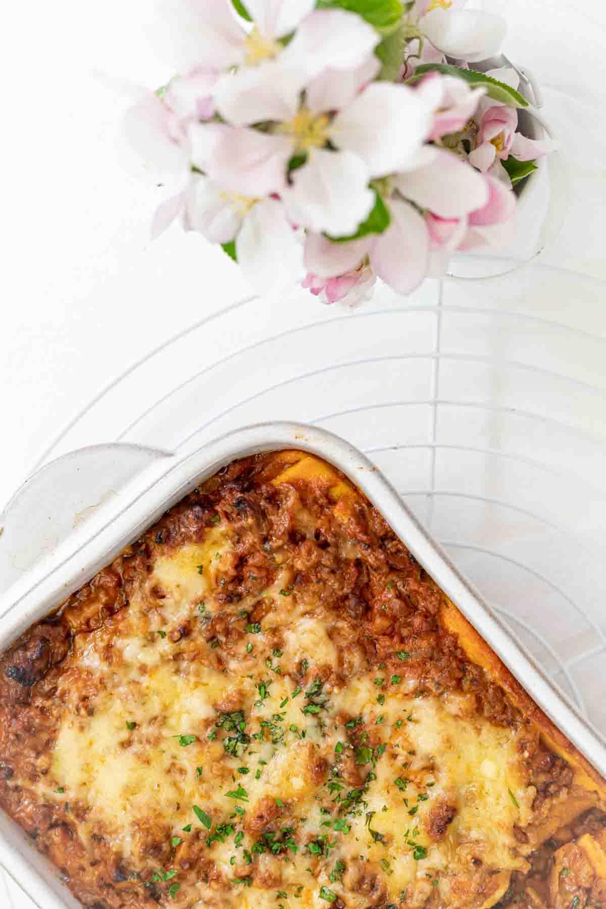 Low Carb Lasagna Recipe inside white casserole