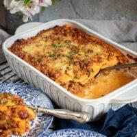 Low Carb Lasagna Bolognese inside the casserole